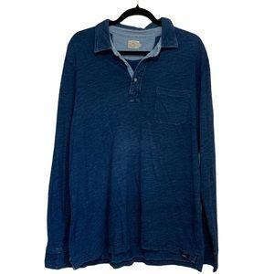 EUC Faherty Long Sleeve Polo Shirt size L